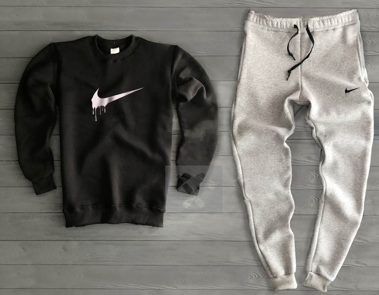 2ae86ed6 Мужской теплый черно серый спортивный костюм Nike Найк (РЕПЛИКА) -  интернет-магазин «