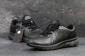 Кроссовки Андер Армор мужские кожаные черные повседневные (реплика) Under Armour Black Leather