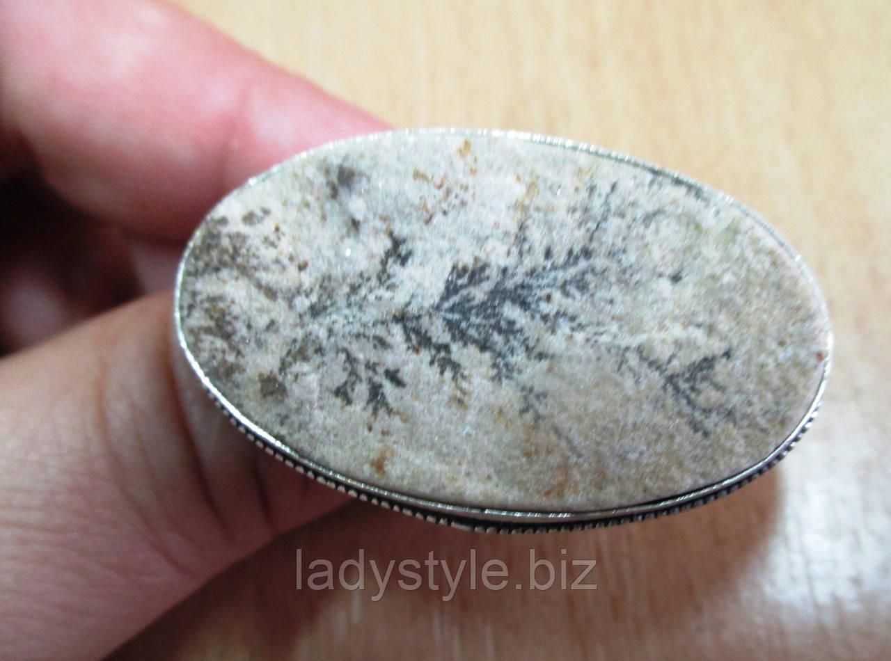 """Необычное колечко с  псиломелан дендритом """"Дерево в овале ,размер 19.6"""