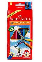 Faber Castell Карандаши цветные Junior 10 цветов, треугольные + точилка