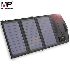 Зарядка на солнечных батареях Allpowers AP-SP-014 5 В 15 Вт с накопителем 6000 мАч