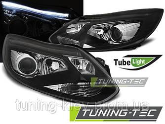 Передние фары FORD FOCUS MK3 11-10.14 TUBE LIGHTS BLACK