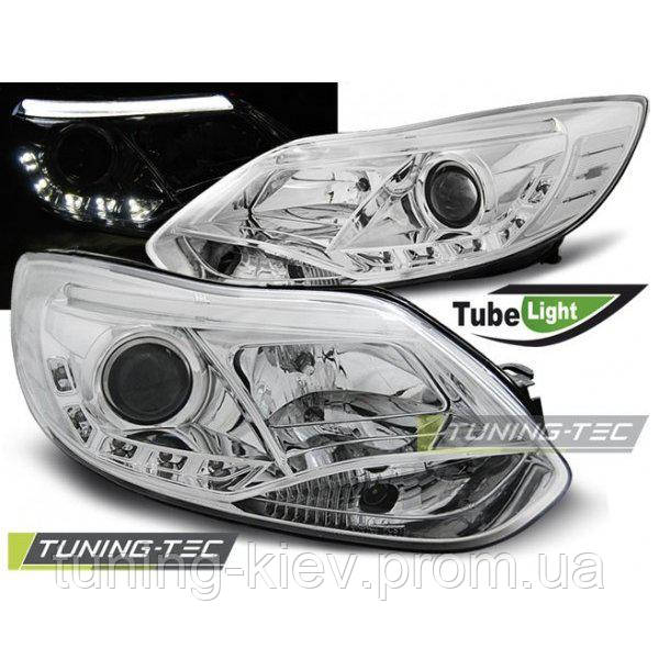 Передние фары FORD FOCUS MK3 11- 10.14 TUBE LIGHTS CHROME