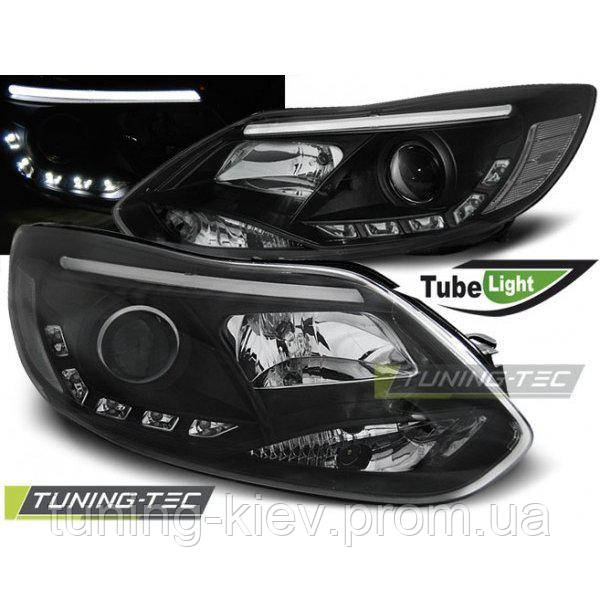 Передние фары FORD FOCUS MK3 11- 10.14 TUBE LIGHTS BLACK