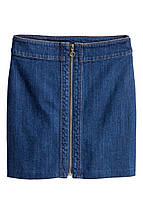 Новая джинсовая юбка-трапеция H&M с молнией, фото 2