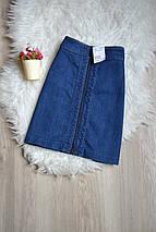Новая джинсовая юбка-трапеция H&M с молнией, фото 3