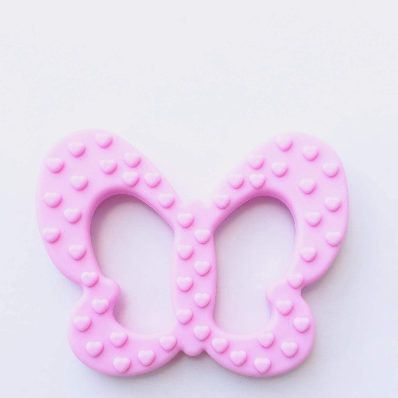 Бабочка (розовый)  силиконовый прорезыватель для зубов