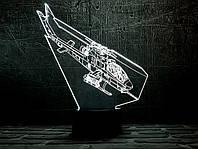 """3D светильник ночник """" Вертолет 2  """"  оригинальный подарок прикольный"""