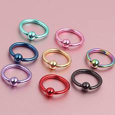 Кольцо с шариком (хир. сталь, разные цвета)
