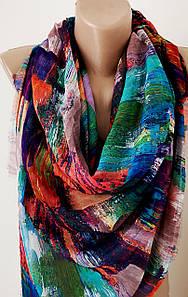 Женский платок разноцветный яркий Абстракция цветы.Вискоза 130\130см