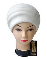 Шапка Yuan Meng женская вязаная Darina шерсть с ангорой  белого цвета, фото 1