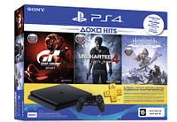 PlayStation 4 Slim 500GB Rus Black Bundle (CUH-2108A) + Horizon Zero Dawn + Uncharted 4 + Gran Turismo, фото 1