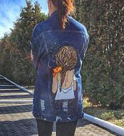 Джинсовая куртка с рисунком ручной росписью на заказ , фото 1