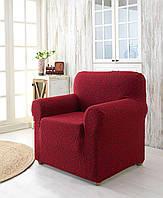 Жаккардовый чехол на кресло бордового цвета