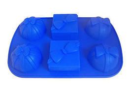 Форма 6 маффинов Hauser 0053 Бантики силикон 28.5х18х4 см Синий (EM0053_psg)