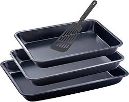 Набор 3 формы для выпечки Renberg + лопатка 29х19 см + 31.5х21.5 см + 34.5х24.5 см Черный (RB-3510-10_psg)