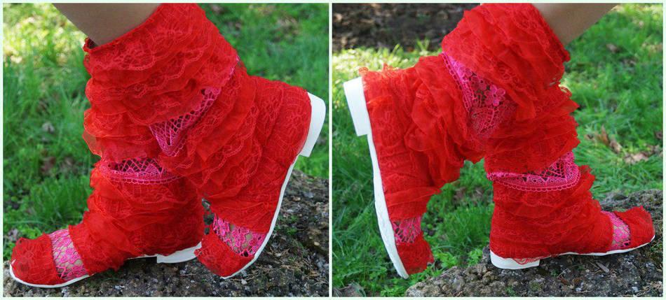 Полусапожки с открытым носком рюши+макраме. Подошва: черная и белая. Размеры: 36-42 код 4509О, фото 2