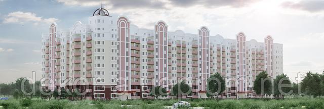 Рекламная 3д макс визуализация многоэтажного здания для застройщика