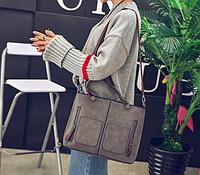 Женская сумка большая с ручками серая Уценка, фото 1