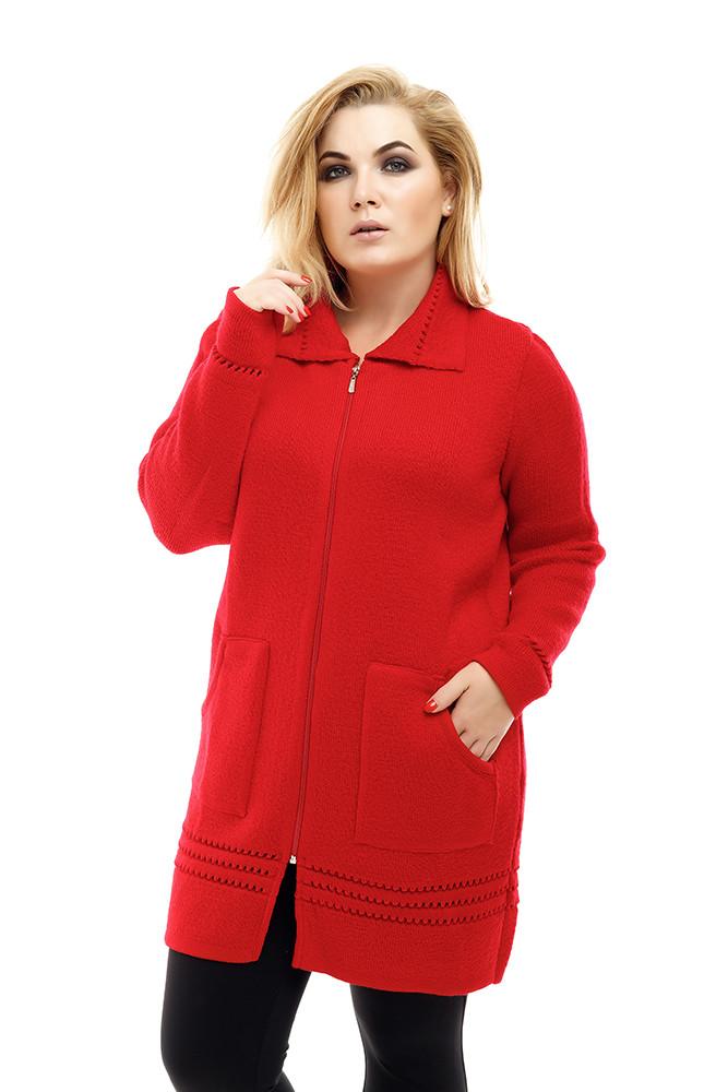 Красная вязаная кофта больших размеров Престиж