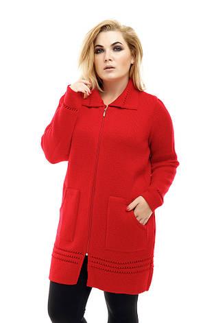 Красная вязаная кофта больших размеров Престиж, фото 2