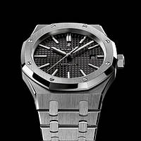 Наручные часы Audemars Piguet Royal Oak Silver/Black AAA мужские копия AP, фото 1