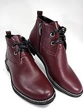 Демисезонные женские ботинки бордовые  больших размеров  Maxima 10450.