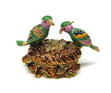 Шкатулка для украшений со стразами Птицы