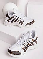 Белые кроссовки с коричневыми вставками 27831, фото 1