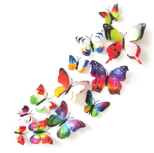 Бабочки на булавках разноцветные - в наборе 12шт. разных размеров, пластик