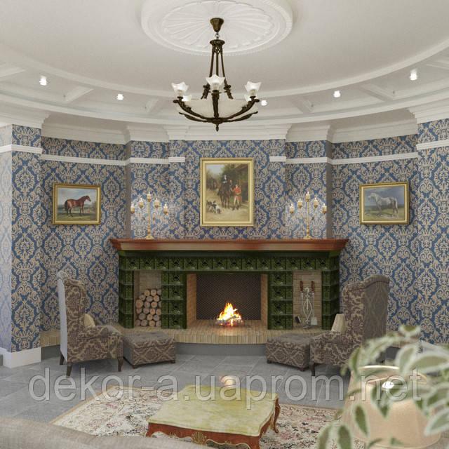 Разработка дизайна интерьера гостинной в частном доме в классическом стиле
