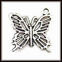 "Метал. подвеска ""бабочка"" серебро (2х2 см) 8 шт в уп."