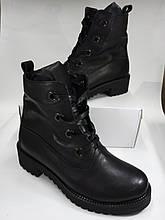 Женские ботинки из натуральной кожи черные.Vikttorio