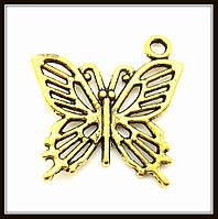 """Метал. подвеска """"бабочка"""" золото (2х2 см) 8 шт в уп."""