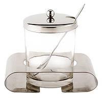 Сахарница 250 мл из нержавеющей стали и стекла с ложечкой и крышкой Kamille 7005