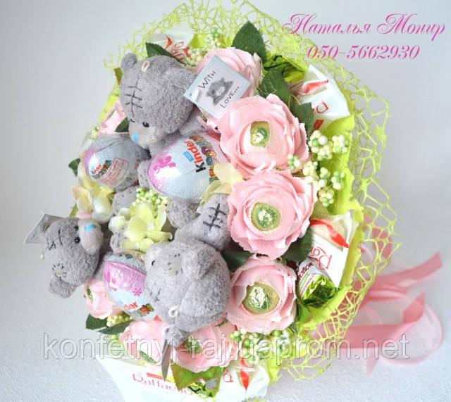 Букет з іграшок ведмедиків і цукерок рафаелло Харків