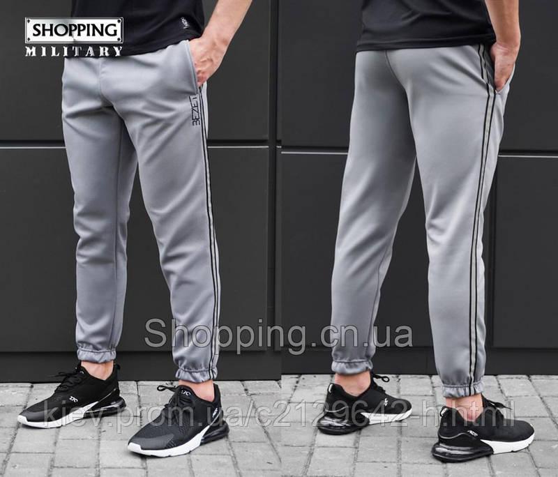 Спортивные штаны мужские серые с черной полосой GREY WITH REFLECTIVE ... 6535144eb43