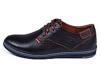 Мужские кожаные туфли  Levis Stage1 Chocolate (реплика), фото 1