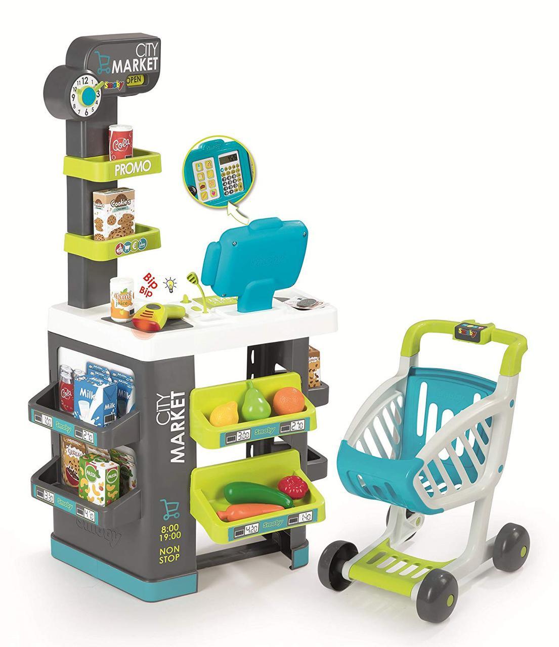 Супермаркет Smoby детский с тележкой касса звук свет City Market 350212