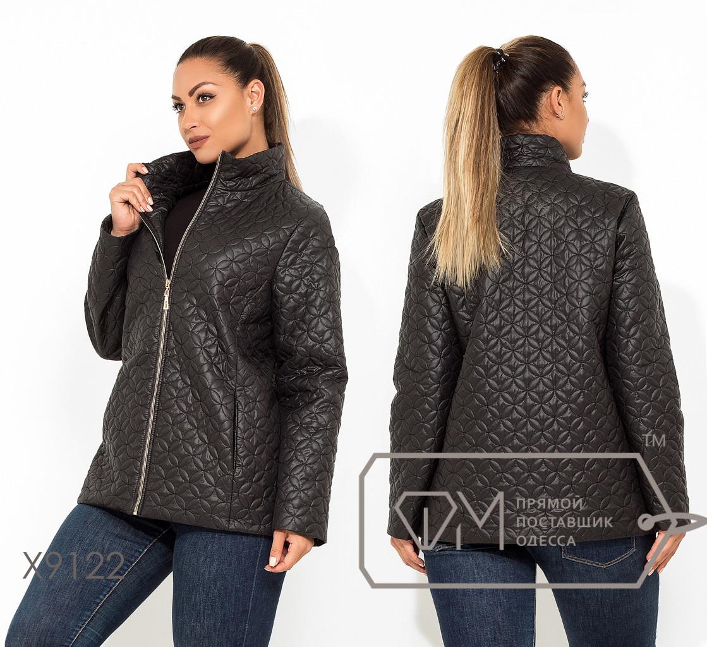 Черная стеганная женская куртка батал на молнии FMX9122