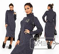 Прямое ангоровое платье миди большого размера с высокой горловиной FMX9183, фото 1