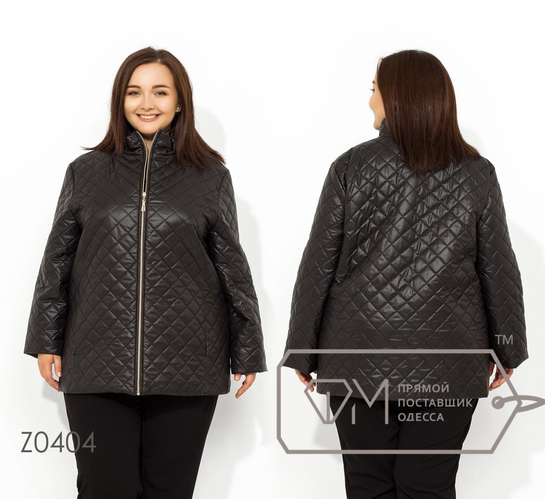 Женская черная стеганная куртка на молнии в больших размерах FMZ0404