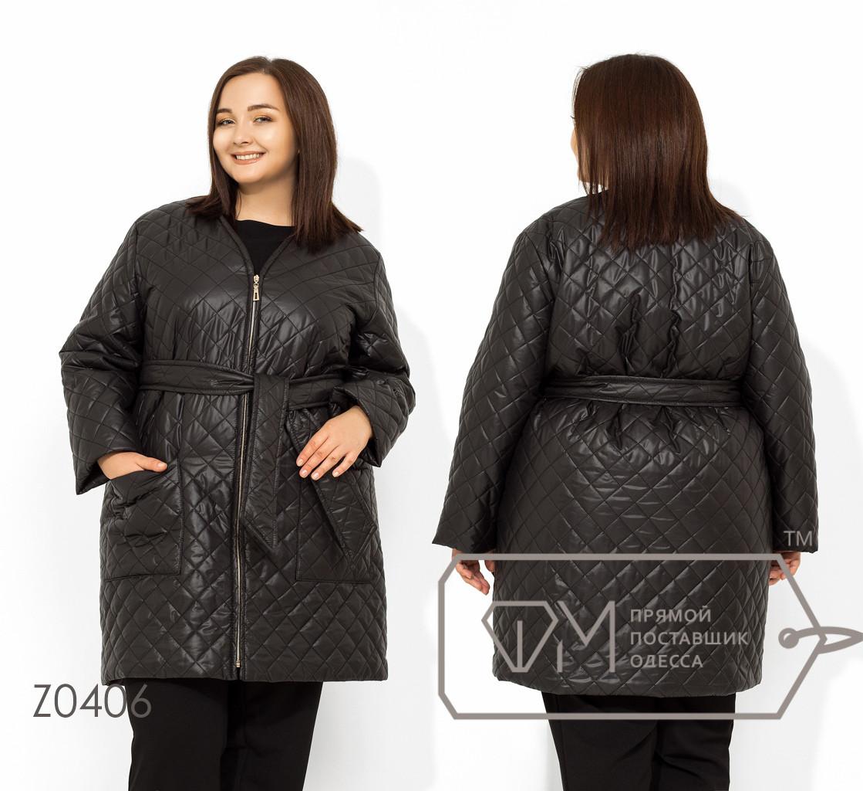 Женское стеганное пальто в больших размерах на молнии FMZ0406