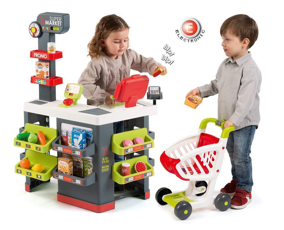 Супермаркет Smoby детский с тележкой касса звук свет City Market 350213