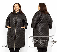 Женское стеганное пальто со спущенным рукавом в больших размерах FMZ0409