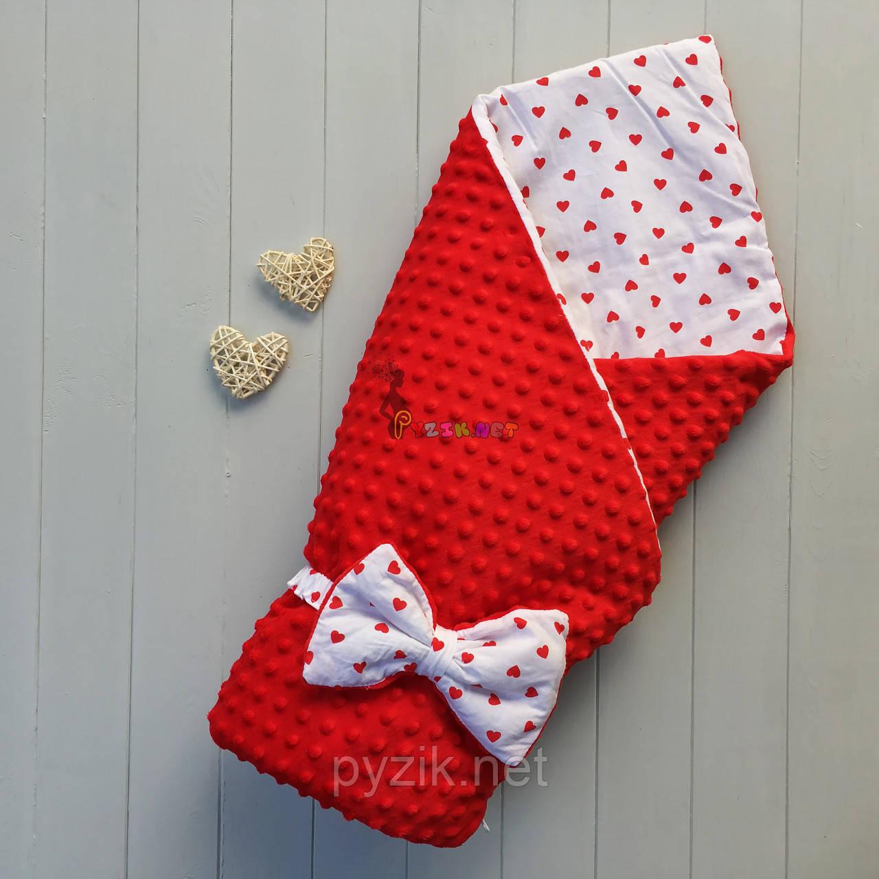 Конверт-одеяло минки на съемном синтепоне красный