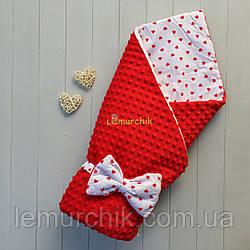 Конверт-одеяло минки на синтепоне красный