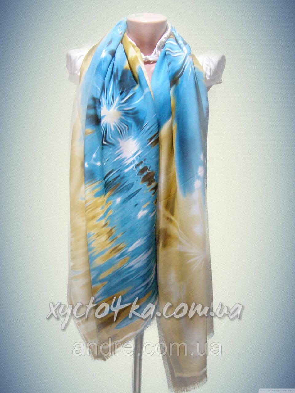 Турецкие шарфы палантины Течение, бирюза