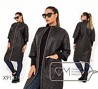 Женское демисезонное стеганное пальто большого размера на молнии TFMX9123, фото 1