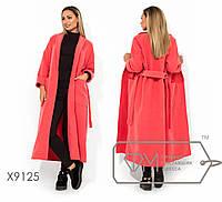Длинное кашемировое пальто в больших размерах на запах с поясом TFMX9125, фото 1